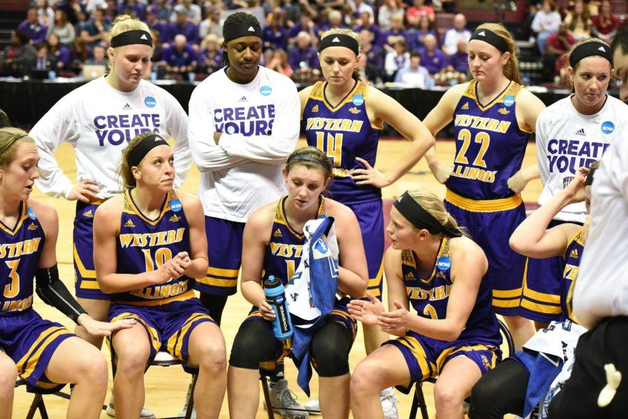 The+Lady+Leathernecks+huddle+together+with+women%27s+basketball+head+coach+JD+Gravina+to+talk+strategy+during+the+NCAA+Tournament+as+Western+Illinois+takes+on+3-seed+Florida+Seminoles+on+March+17.