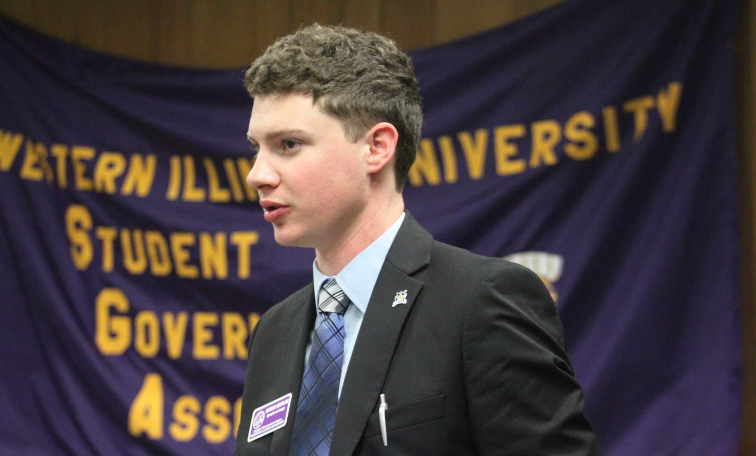 Student Government Association (SGA) Senator at-Large Patrick Quinlan motions for SGA to move into an executive session to discuss Jason Wood's nomination as SGA faculty adviser with the purpose of allowing senators to speak free from outside influence.