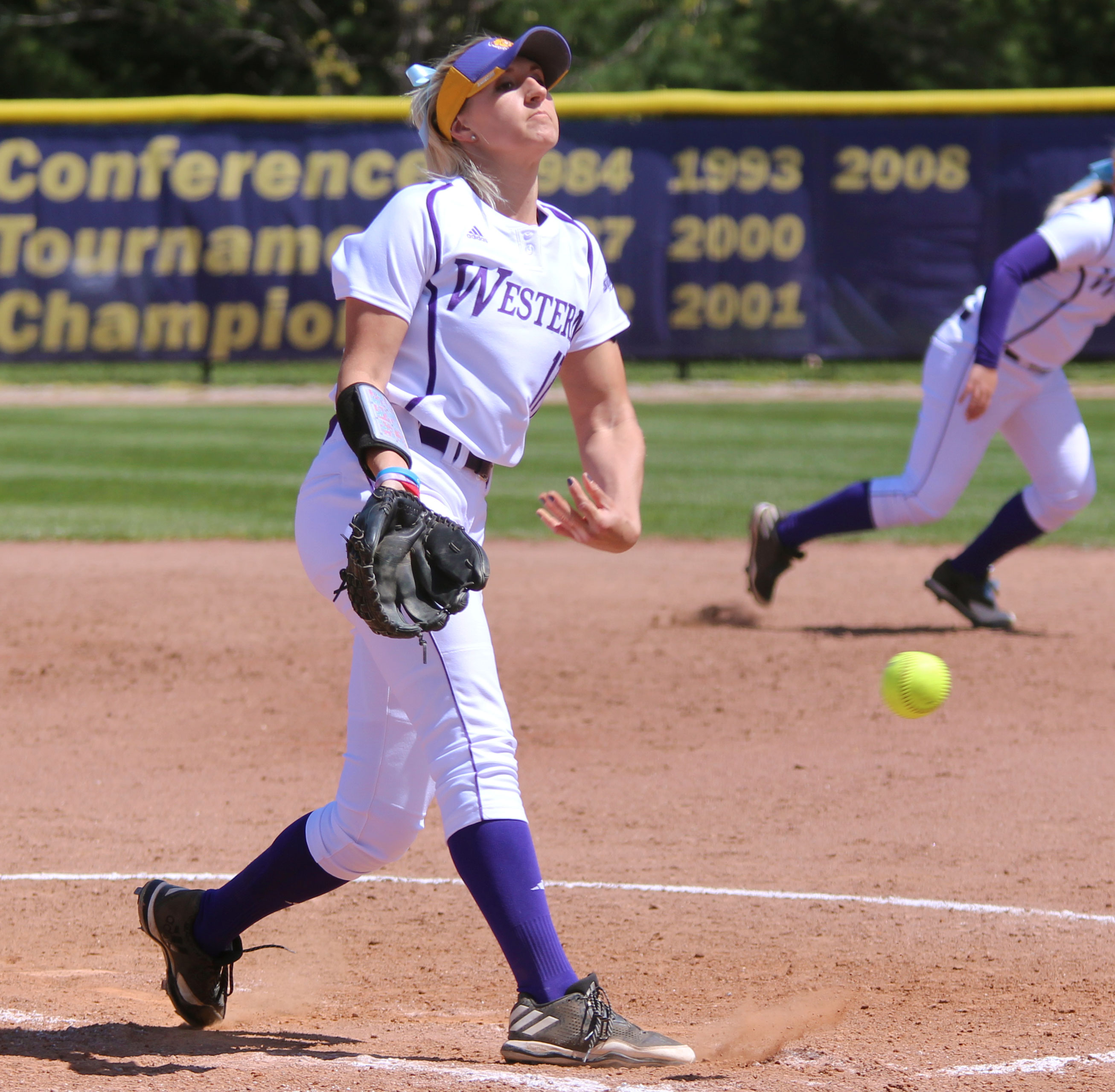 Sophomore hurler Emily Ira delivers a pitch at Mary Ellen McKee Stadium in Game 1 of Saturday's double-header.