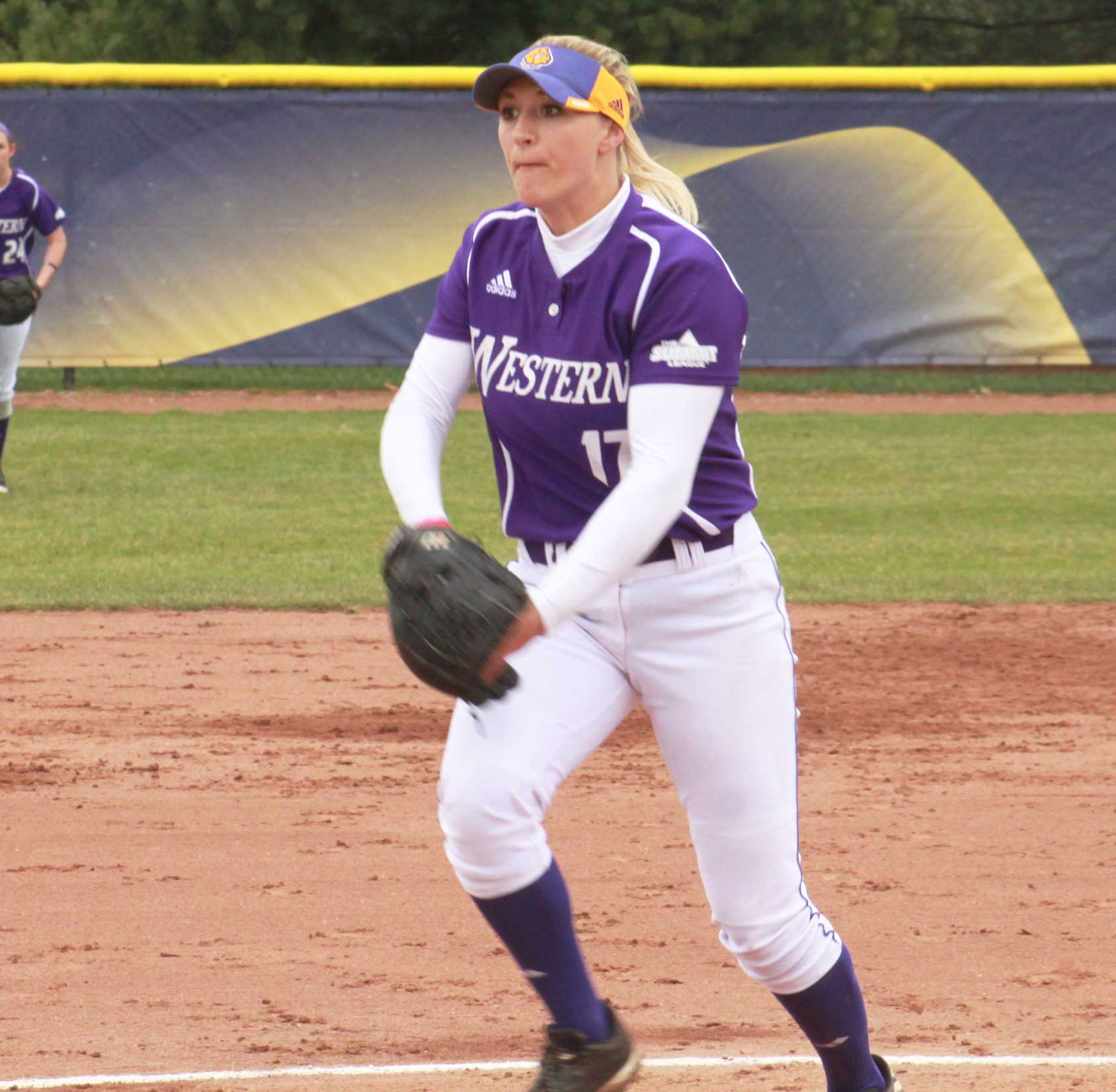 Sophomore Emily Ira looks in and delivers a pitch at Mary Ellen McKee Stadium in Macomb