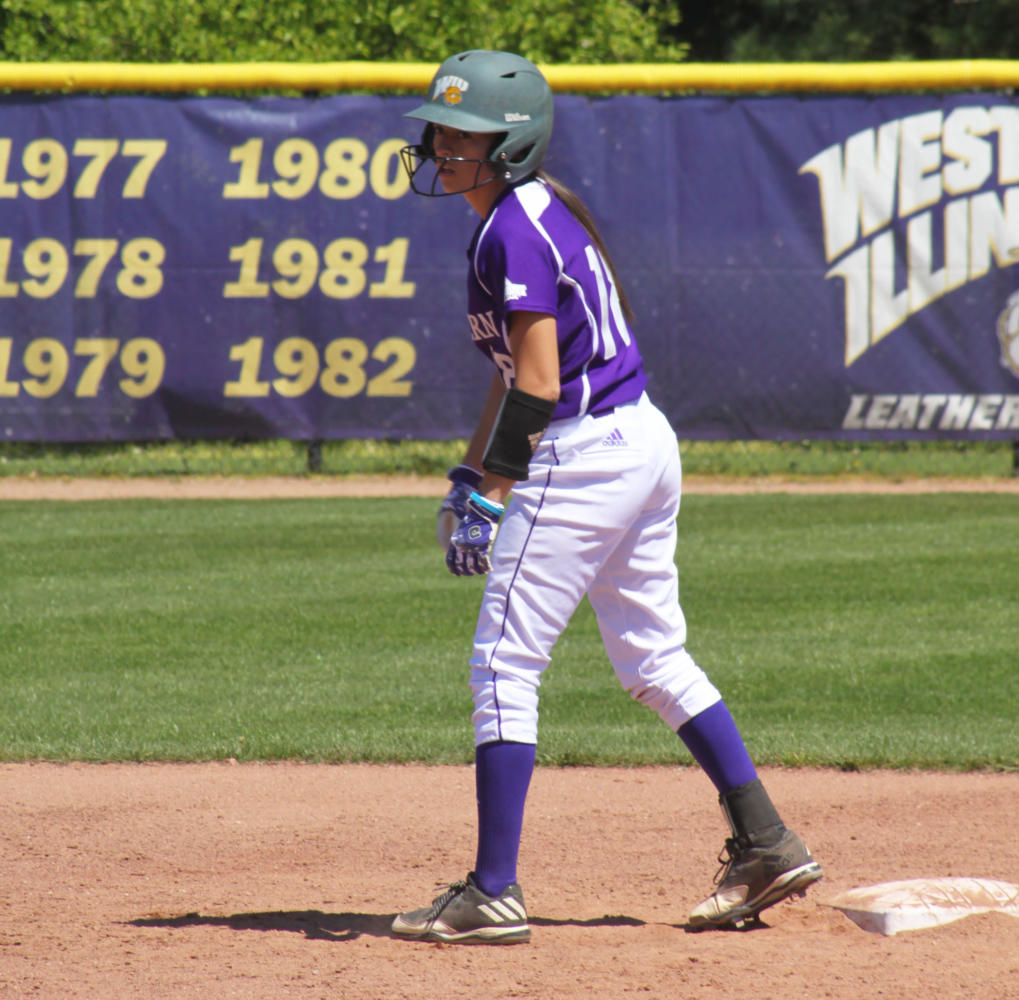 Senior Nina Maggio takes a step off of second base at Mary Ellen McKee Stadium in Macomb.