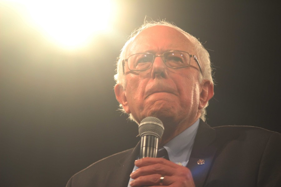 """Vermont Sen. Bernie Sanders speaks at the Jefferson-Jackson Dinner on Saturday. """"You fight for a massive federal jobs program to rebuild our crumbling infrastructure and put millions of our people back to work,"""" Sanders said. """"You fight for an economy that works for all Americans and not just the wealthiest people in this country."""""""