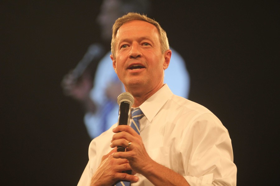 """Former Maryland Gov. Martin O'Malley speaks second during the keynote portion of the Jefferson-Jackson Dinner. """"While all of the candidates here tonight share progressive values, not all of us have a record of actually getting things done. I do,"""" O'Malley said. """"With 15 years of executive experience, as mayor and as a governor, I have learned how to be a very effective leader. I have learned how to get things done. I am clear about my principles. Passing a living wage and raising the minimum wage. Freezing college tuition for four years in a row: Actions, not words."""""""