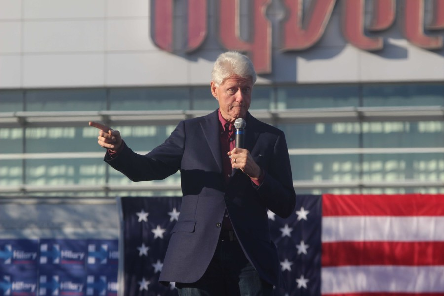 Former President Bill Clinton speaks during a rally for Hillary Clinton.