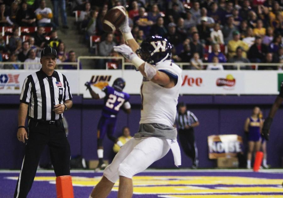 Joey Borsellino finishes with 64 receiving yards and a touchdown against Northern Iowa on Saturday.