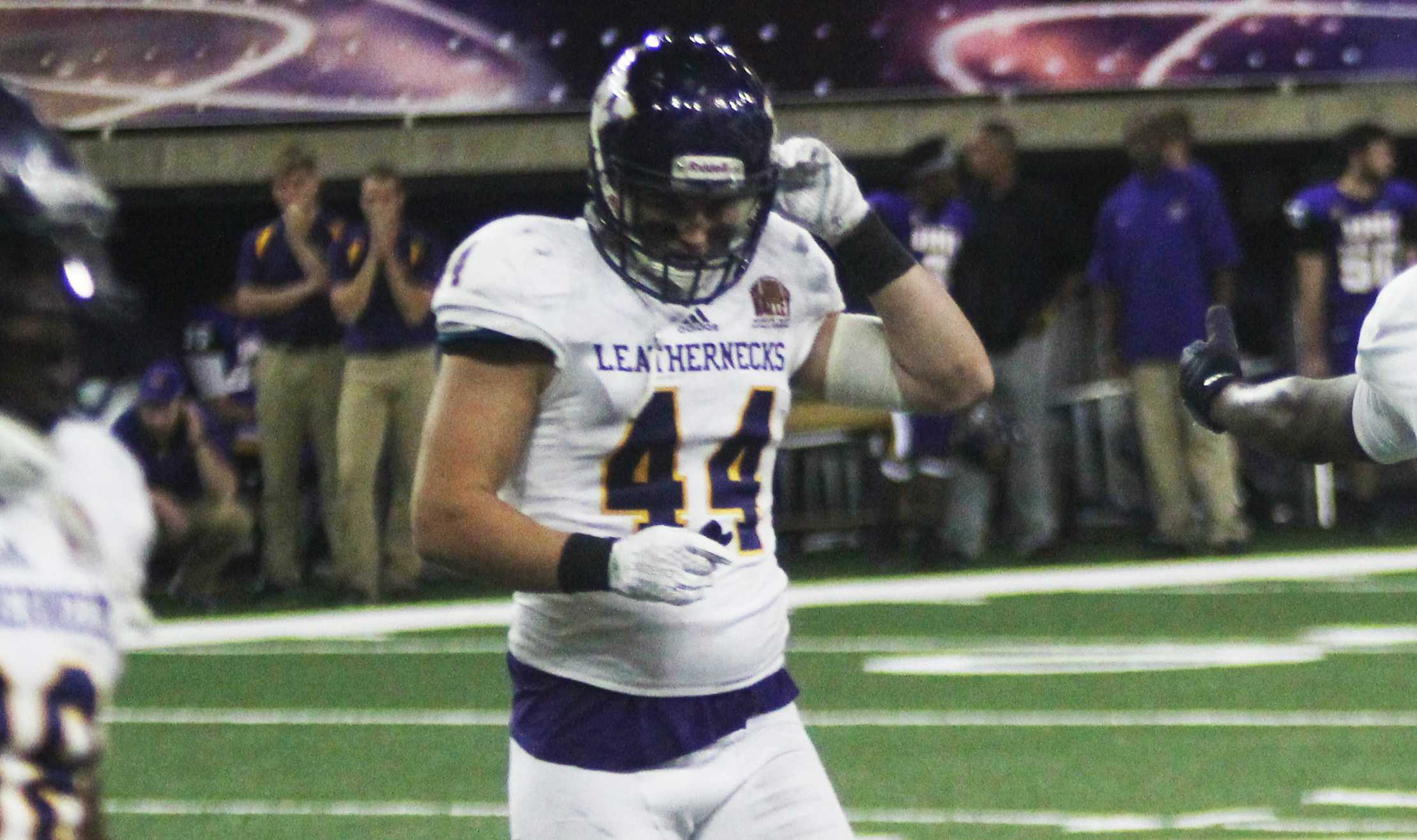 Brett Taylor was named the MVFC Defensive Player of the Week after the Leatherencks defeated the Northern Iowa Panthers. Taylor has recorded 67 tackles this year, an interception return for a touchdown and three fumble recoveries, including one for a touchdown.