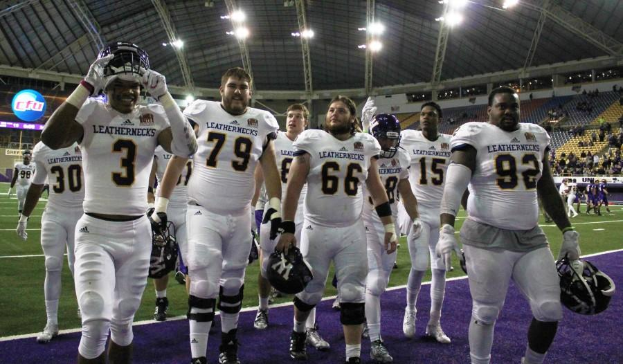 Western players celebrate following the 24-19 upset win over the nationally ranked Panthers.