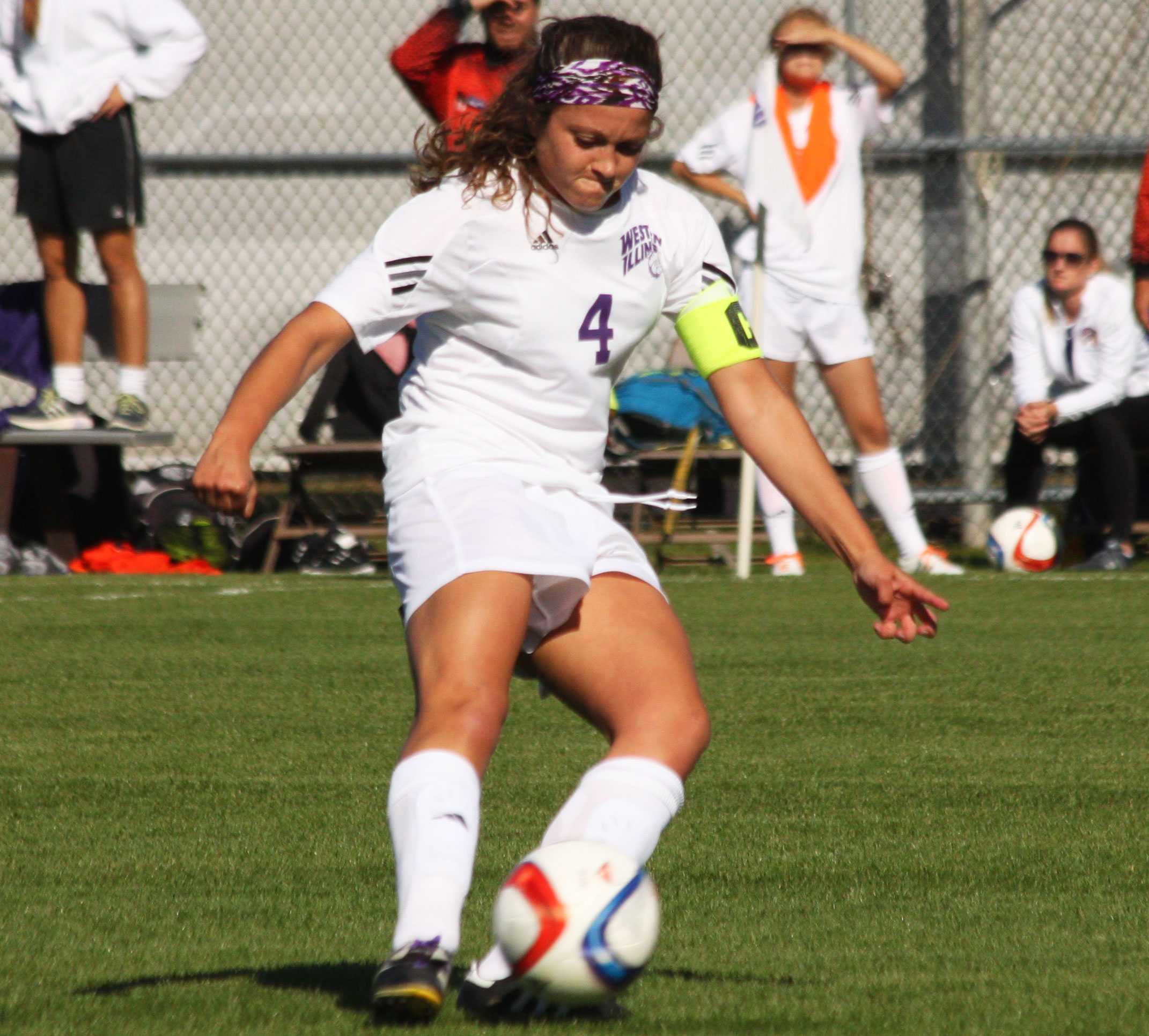 Gina Scaffidi scores a goal for the Leathernecks against South Dakota, beating keeper Sydney Hardin.