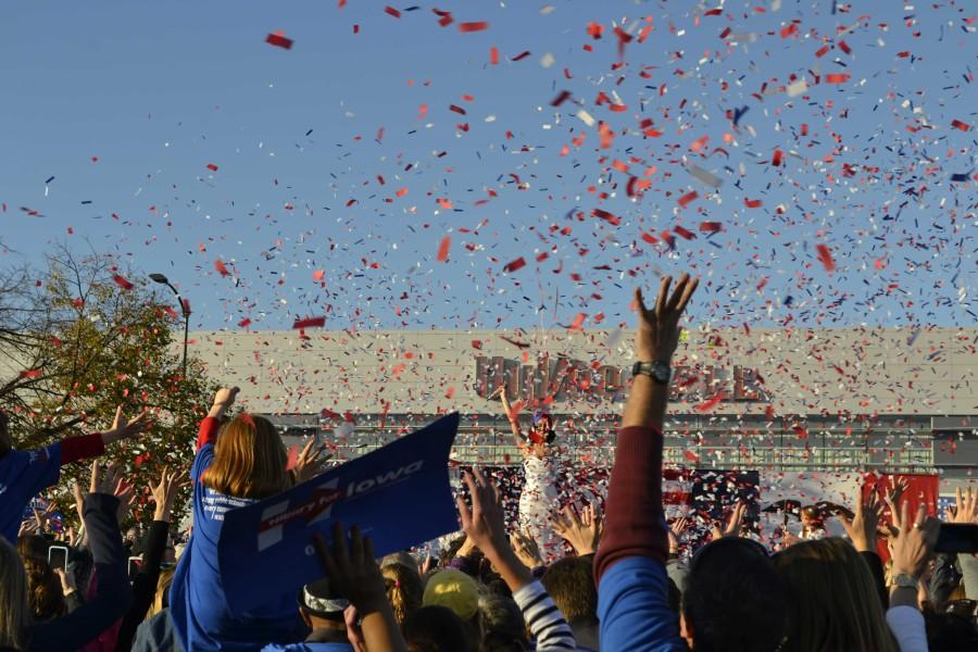 Red, white and blue confetti launches at the end of Katy Perry's performance.