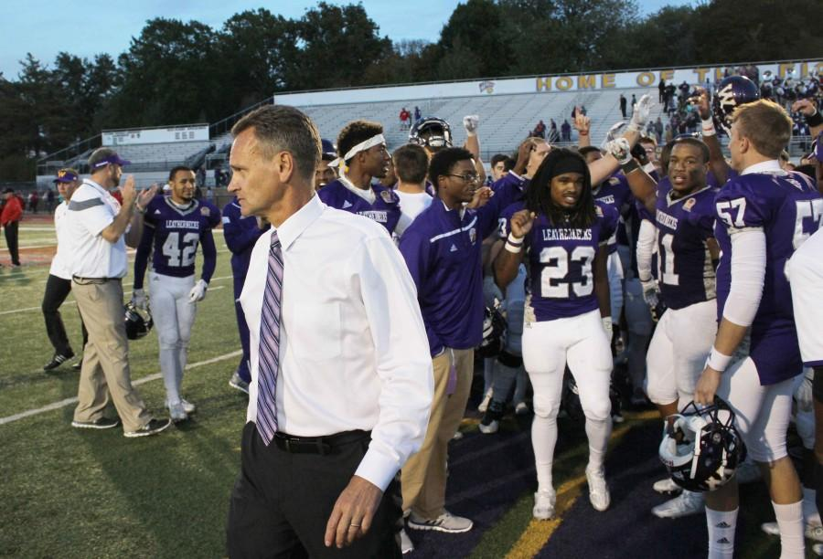 Head coach Bob Nielson walks off the Hanson Field turf on Saturday following Western's 40-21 win over South Dakota. The Leathernecks moved to 2-0 in MVFC play.