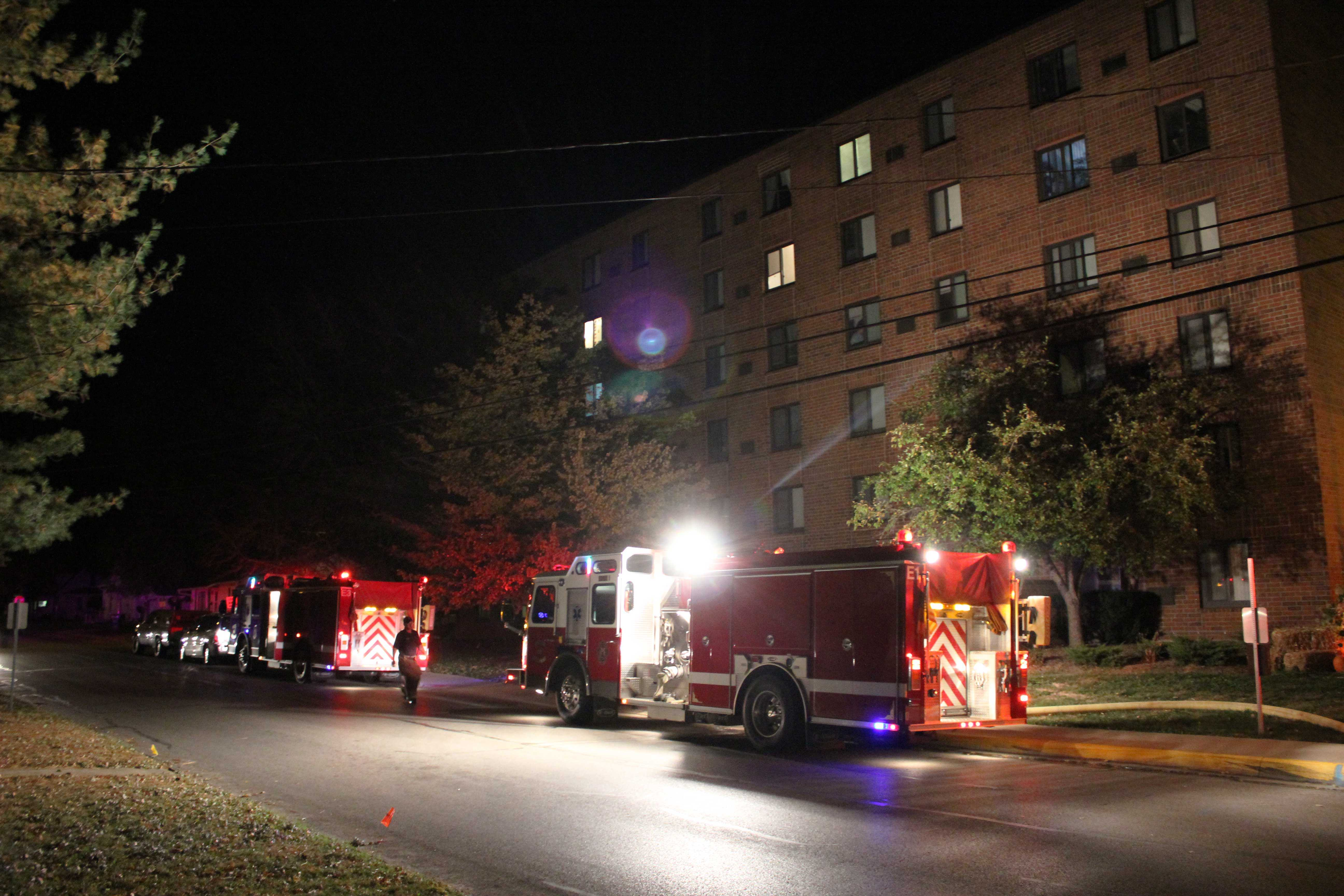 Firefighters respond to the Jefferson House, located at 900 E. Jefferson St., after a fire started on the sixth floor.