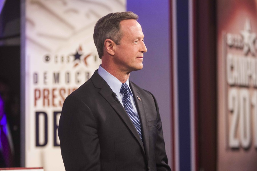 Former Maryland Gov. Martin O'Malley prepares for the debate on stage in the Sheslow Audiorium on the Drake University campus.