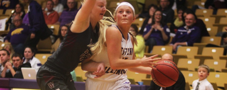 Sophie+Reichelt+%2844%29+records+a+double-double%2C+scoring+13+points+and+grabbing+12+rebounds.+Michelle+Farrow+%2822%29+led+the+way+for+the+Leathernecks%2C+scoring+16+points+and+Emily+Clemens+%2815%29+scored+15+points+and+had+seven+steals+in+a+victory+over+the+William+Woods+Owls+on+Friday.