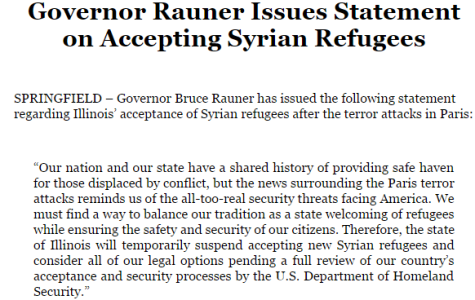 Illinois suspends acceptance of Syrian refugees