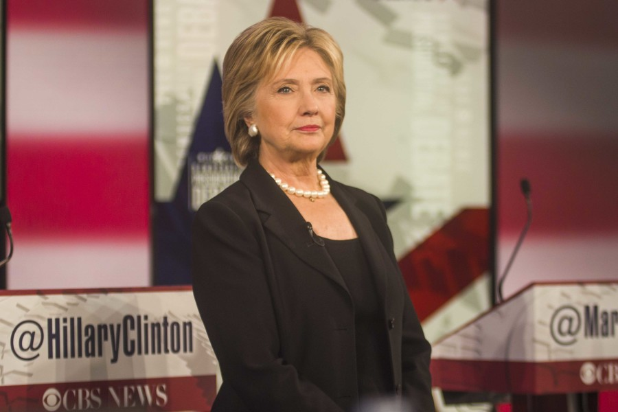 Former Secretary of State Hillary Clinton thanks her supporters in attendance at the debate.