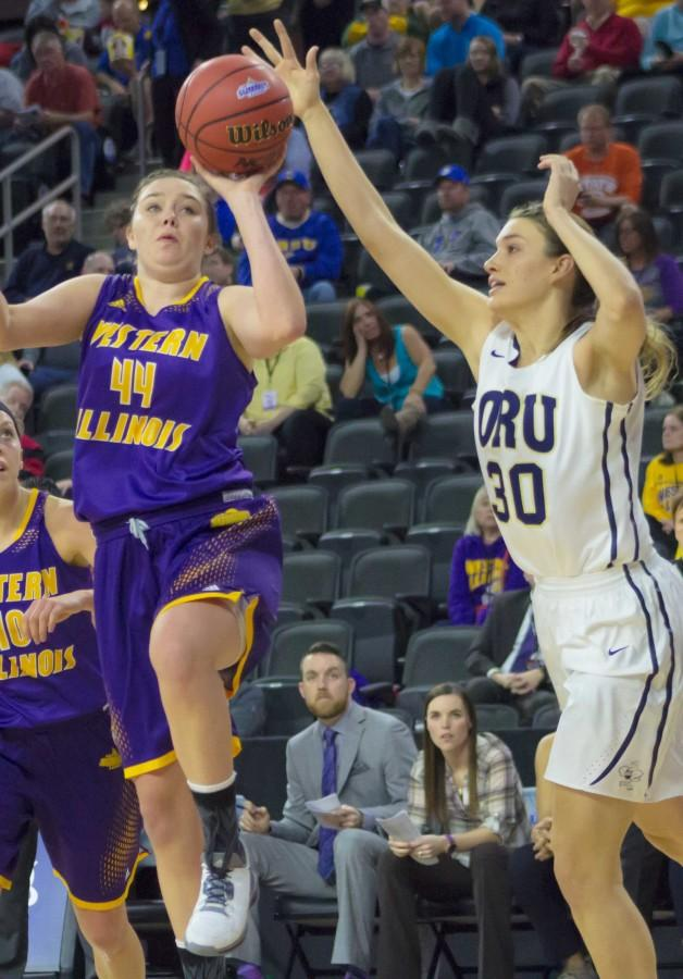 Sophie Reichelt (44) finishes her Leatherneck career against USC Upstate in the WBI, recording a team-high 23 points.