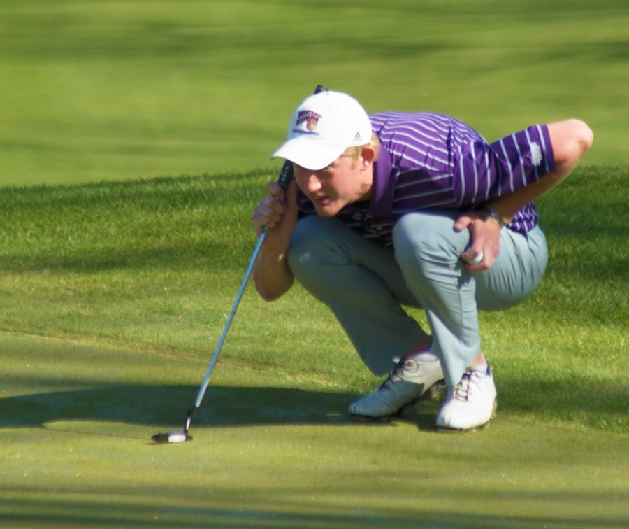 Adam Falk watches during the Beu Mussato Invite, as he finishes tied for 16th place.