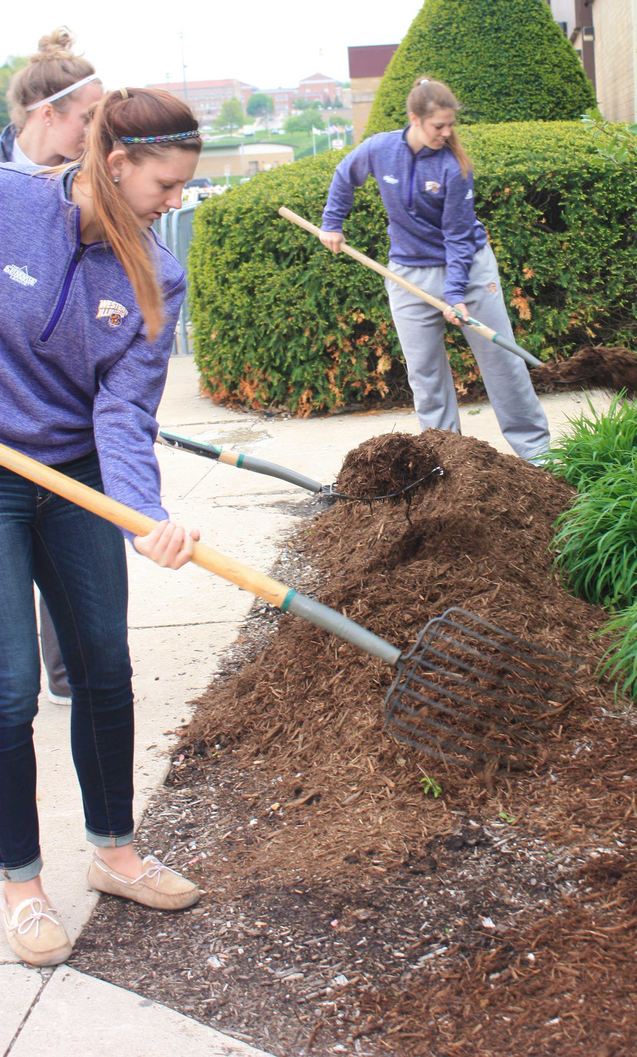 jasmyne taylor/courier staff On Friday, students celebrate Arbor Day with the assistance of Facilities Management staff by planting trees in the spring We Care event.