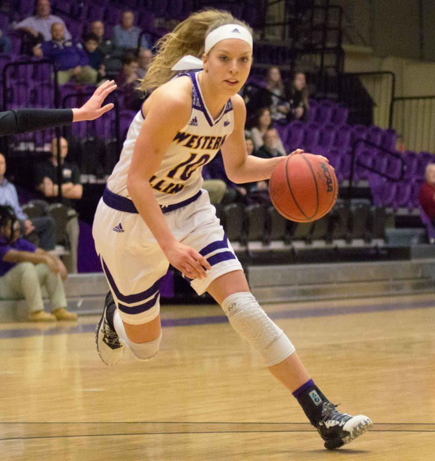 Mallory Boyle takes her defender left looking for a quick bucket last Wednesday against IUPUI.