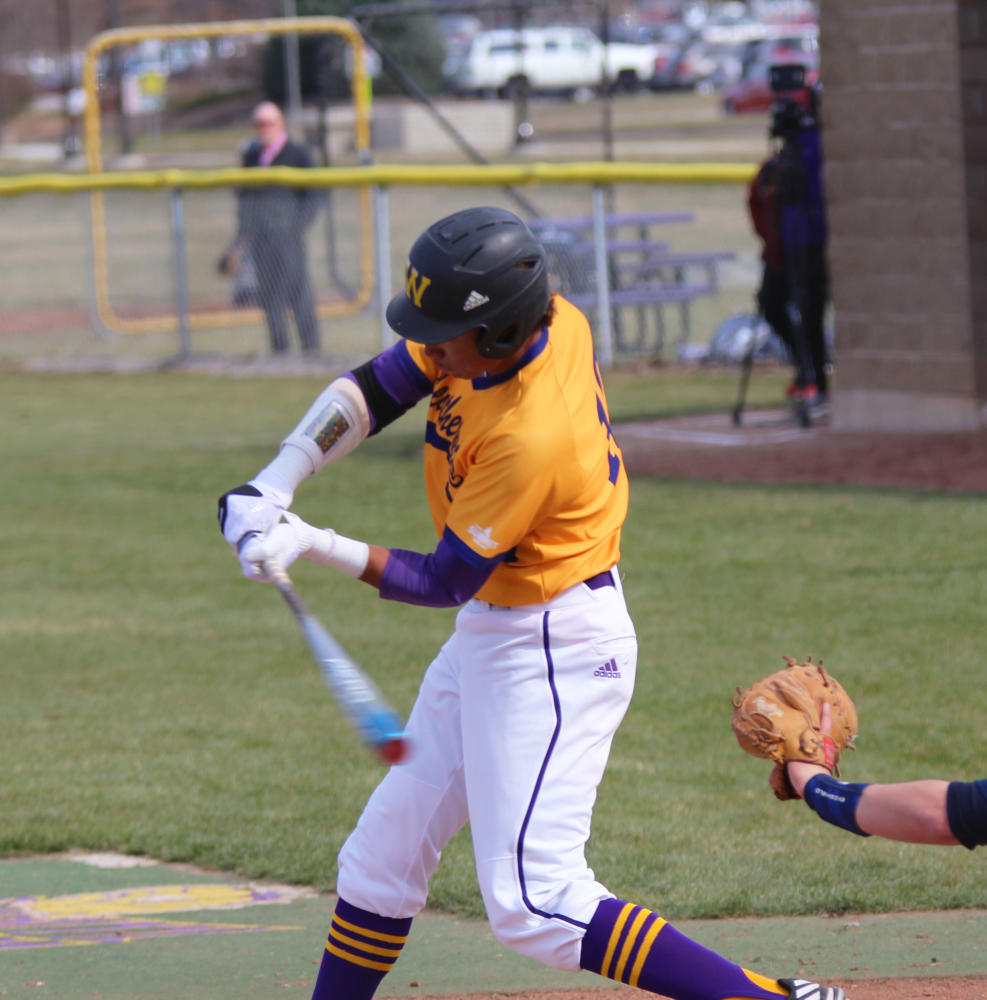 Player of the Week recepient Drue Galassi rips through the baseball at Alfred D. Boyer Stadium in Macomb.