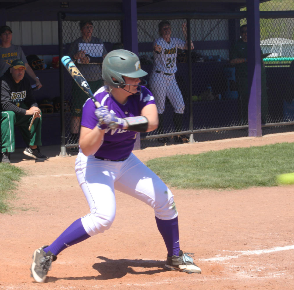 Freshman infielder Halle Hollatz eyes the incoming pitch against NDSU at Mary Ellen McKee Stadium in Macomb.