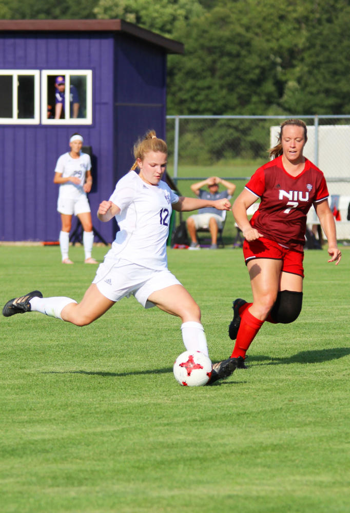 Natalie Nagle winding up for the kick.