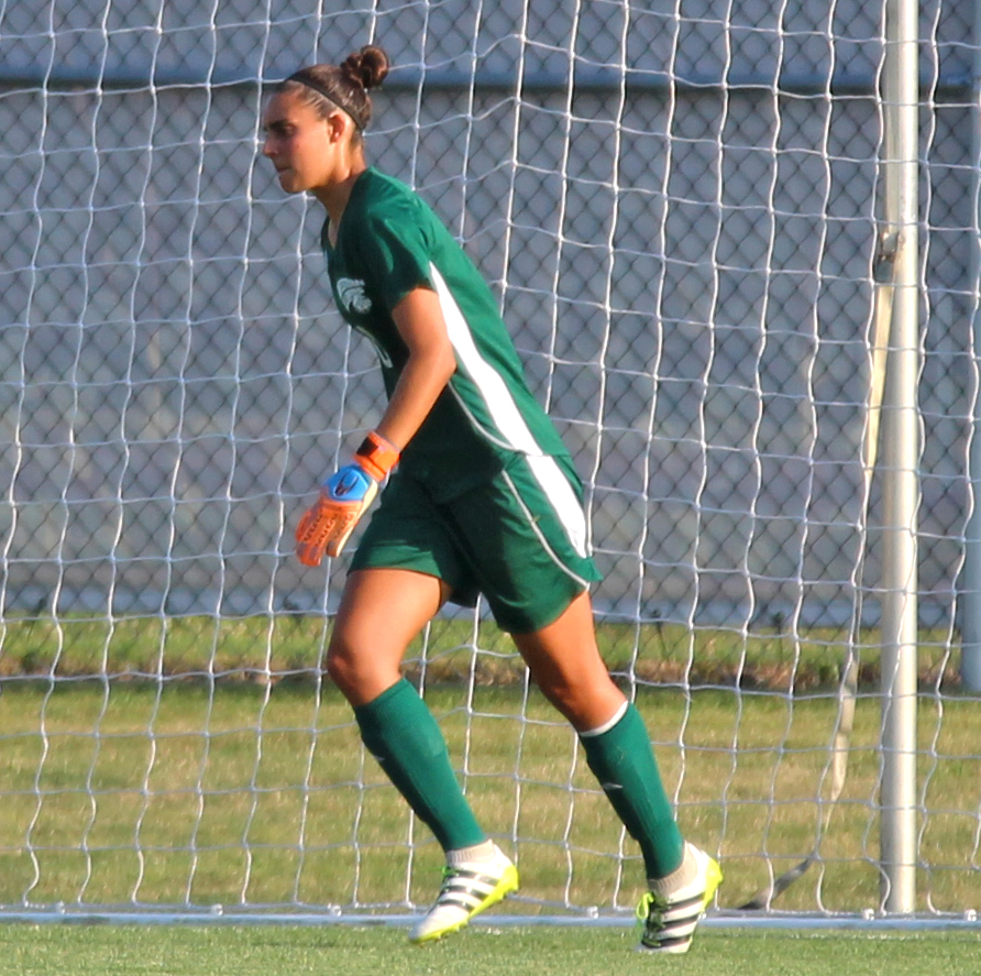 Ines Palmiero Herrera kicks the ball out of the night after a shutout against Fort Wayne.