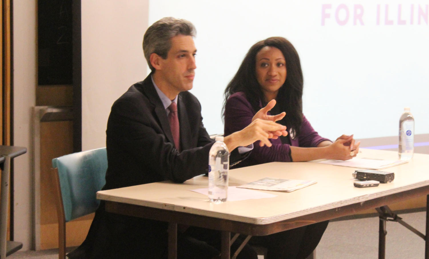 Senator Daniel Biss and State Representative and Western alumna Litesa Wallace prepare to share insight on political issues at Thursday's meet and greet in Morgan Hall.