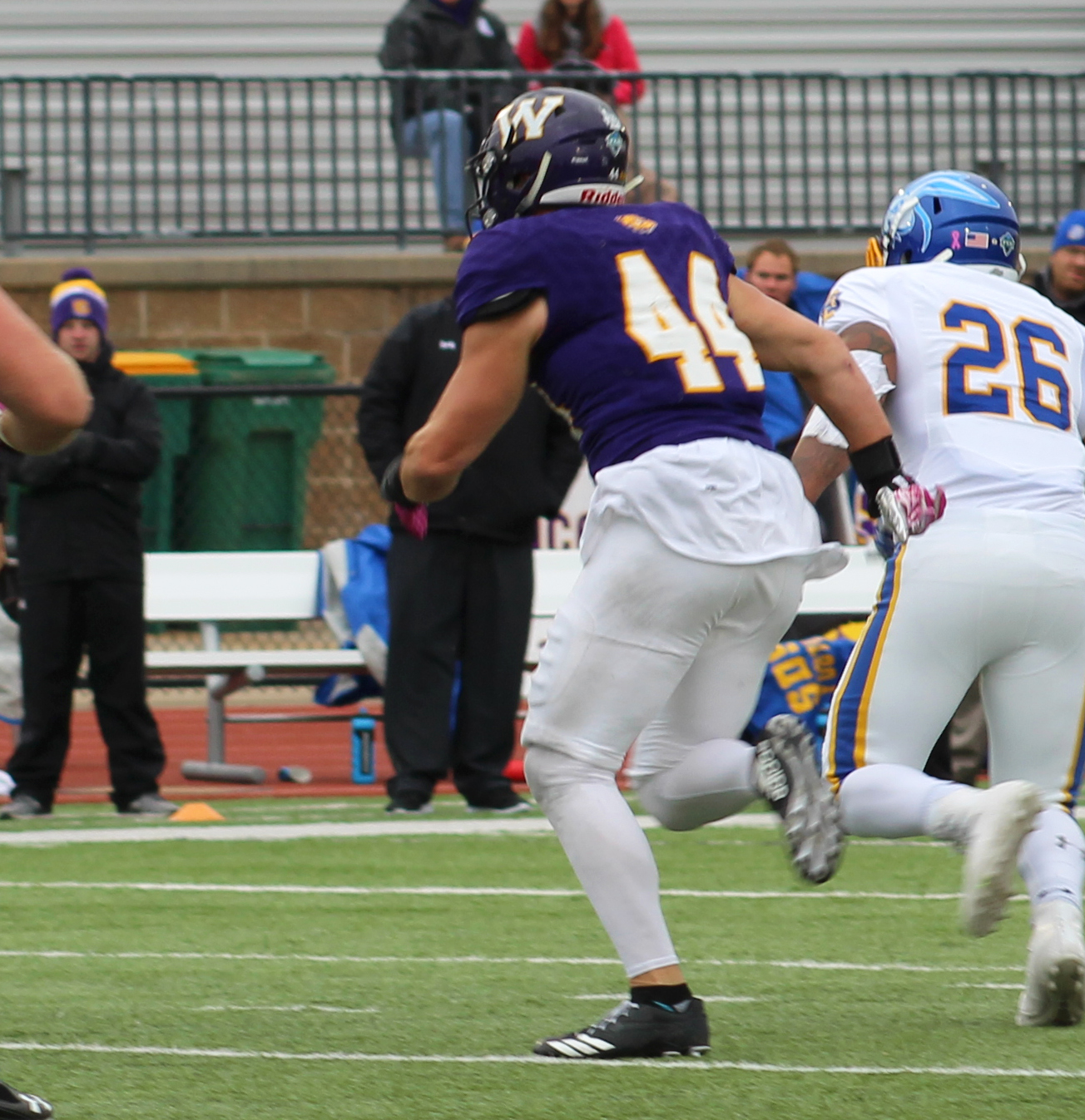 Brett Taylor chases down a South Dakota State University running back to stop a touchdown.