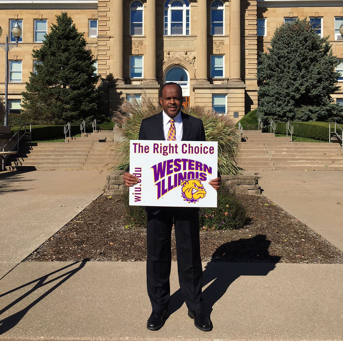 Western Illinois University president Jack Thomas advocates The Right Choice campaign through one of the many signs are posted throughout the Macomb campus and other parts of Illinois and Missouri.