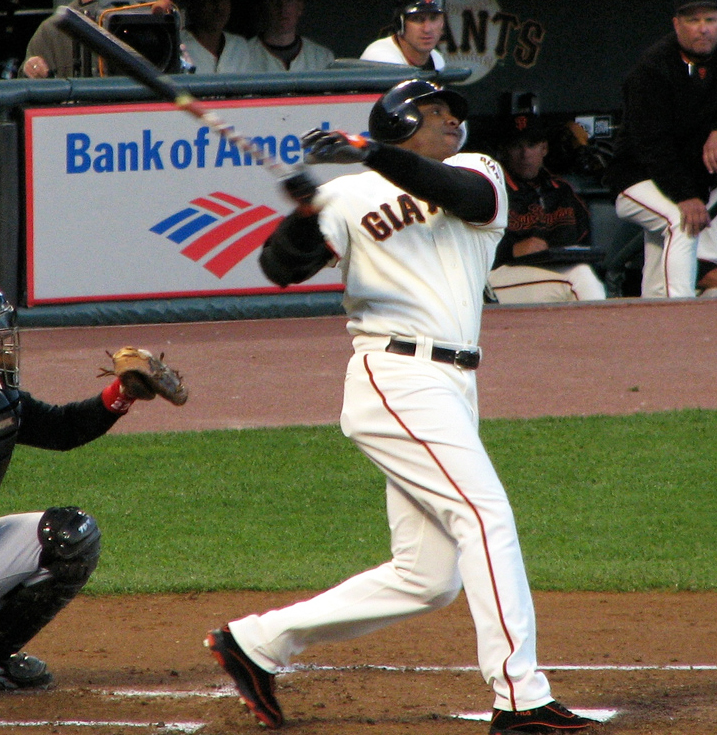 Barry+Bonds+follows+through+after+a+swing+at+the+plate.