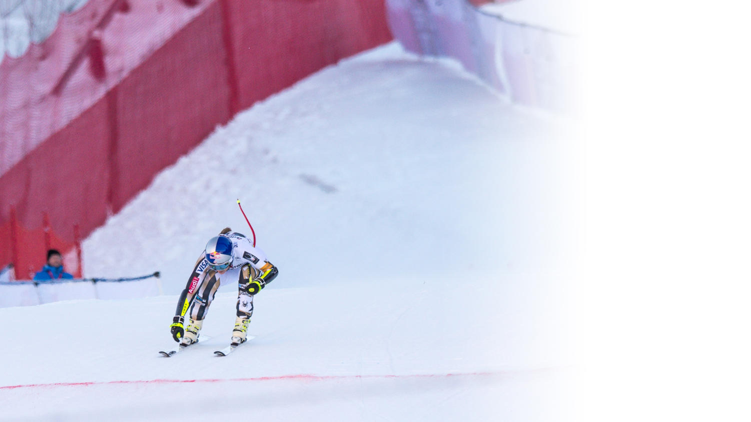 Lindsey Vonn catches speed on the Downhill event.
