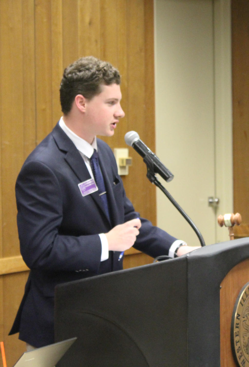 The Student Government Association listens to a presentation on fee structures and discusses legislation pertaining to funding for Western Illinois University at Tuesday's meeting.