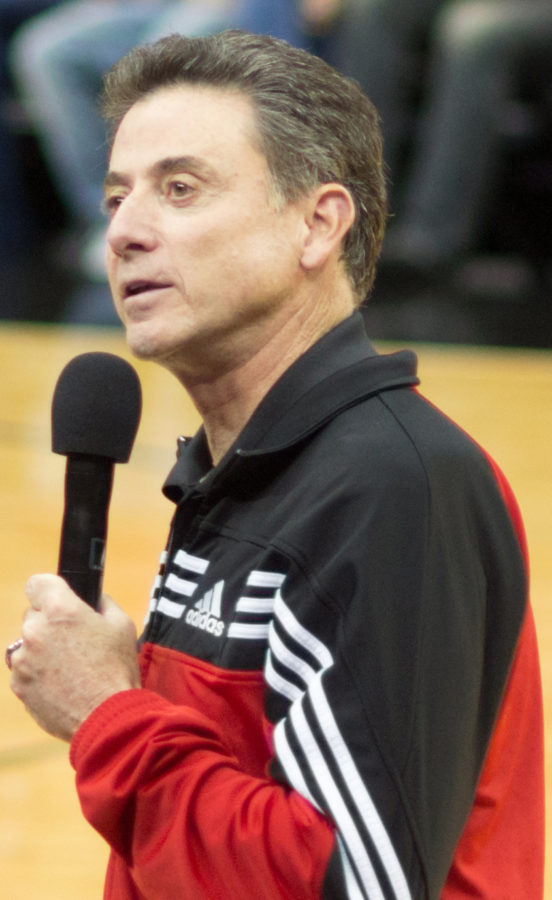 Louisville+former+head+coach+Rick+Pitino+speaks+at+game.