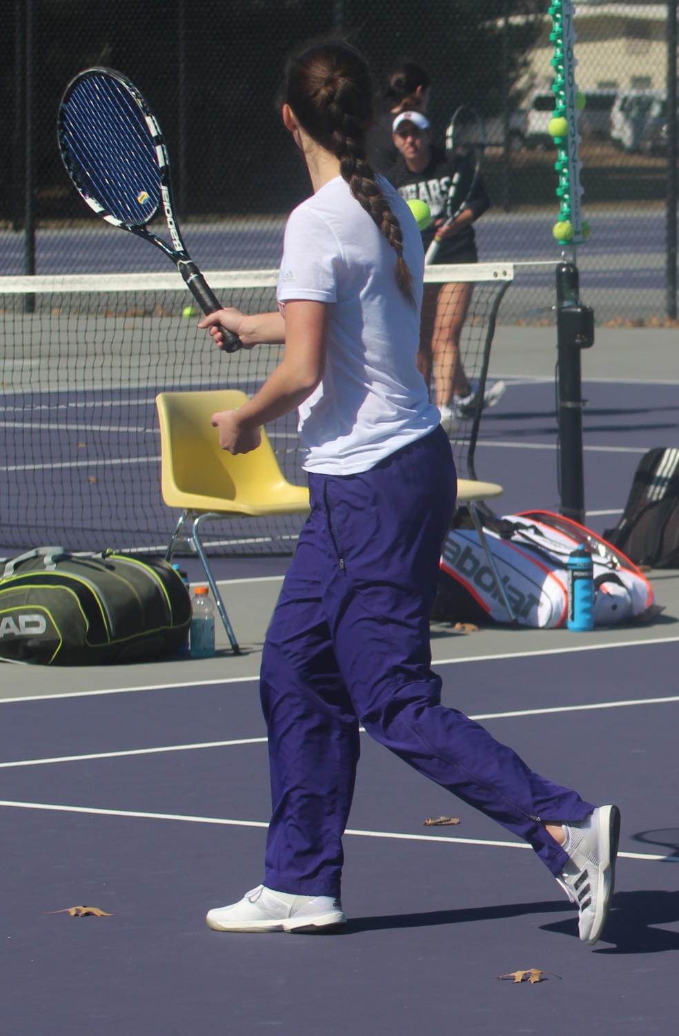 Courtney Lubbers prepares for doubles matchup.