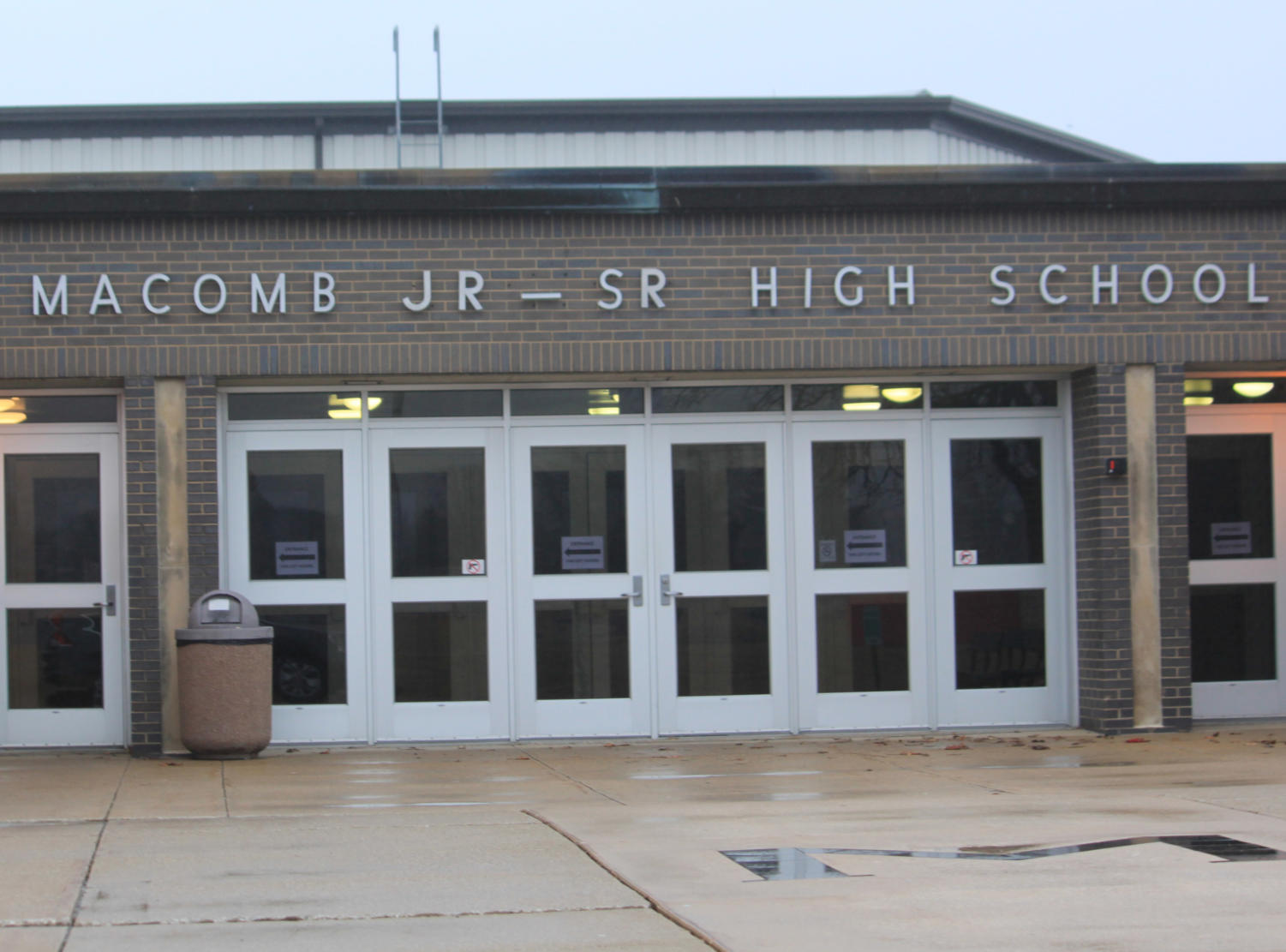 Macomb Junior-Senior High School, where two former students claim the were sexually assaulted by a former male student, and where they claim administrators ignored the incidents in a lawsuit filed Feb. 16.