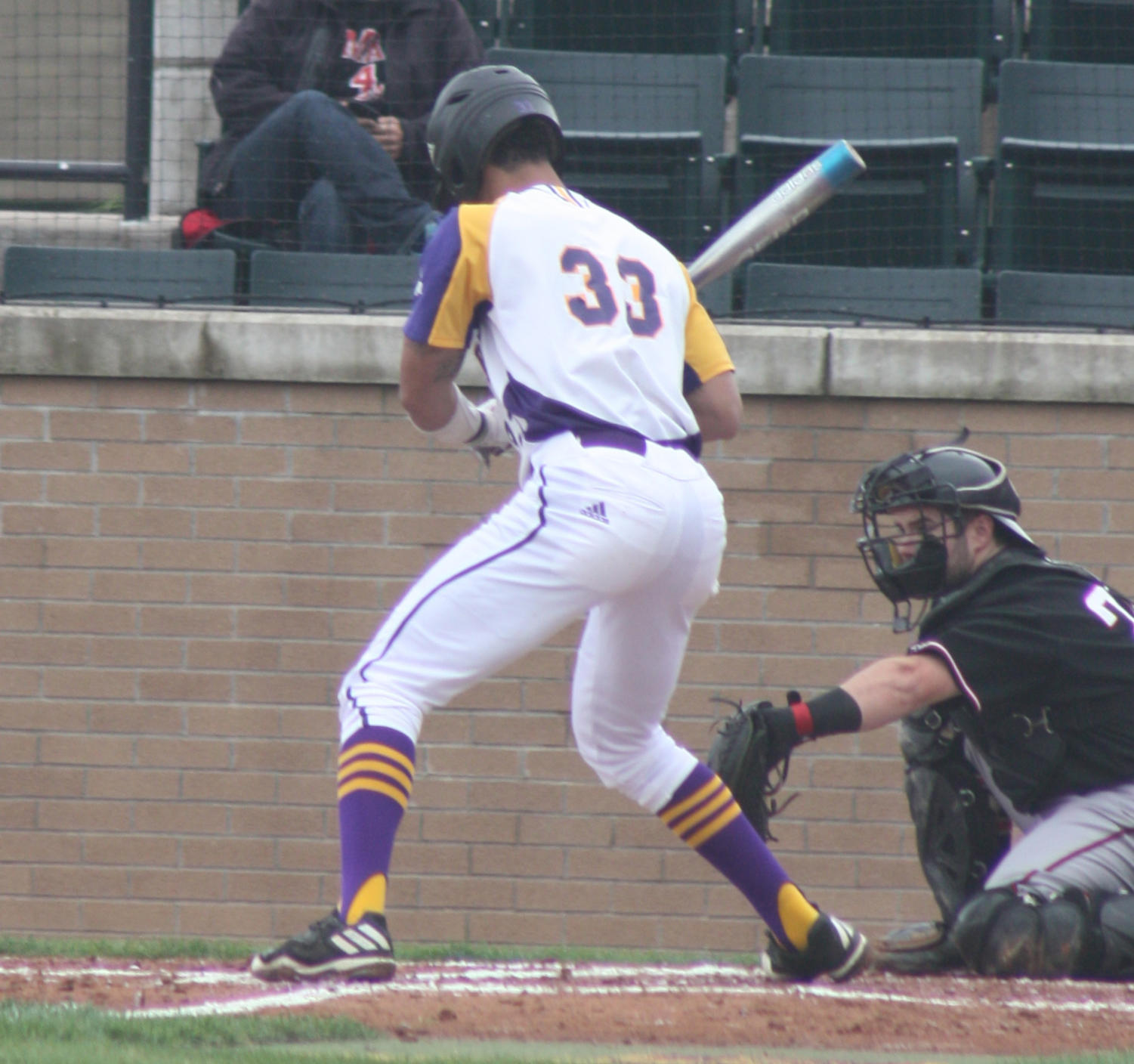 Deion Thompson up to the plate at Alfred D. Boyer Stadium.