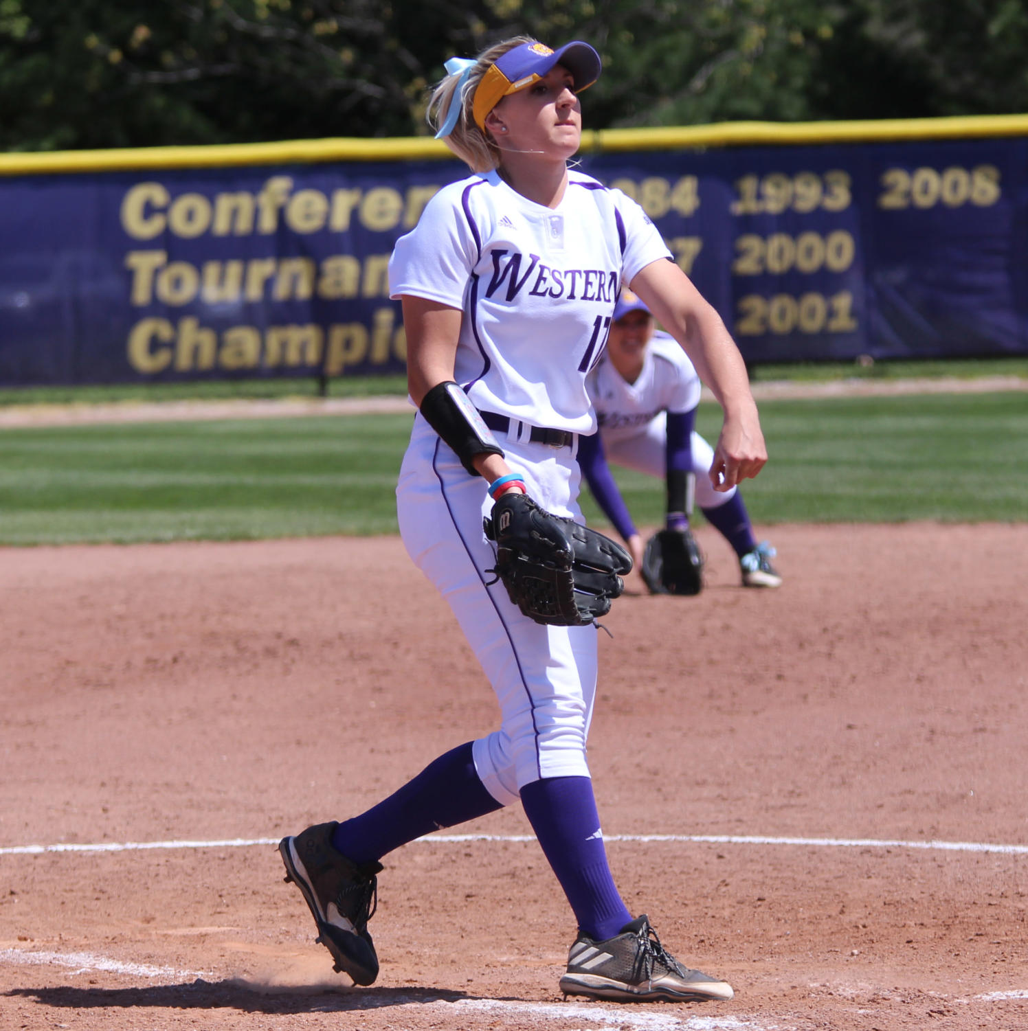 Emily Ira on the mound for the Purple and Gold.