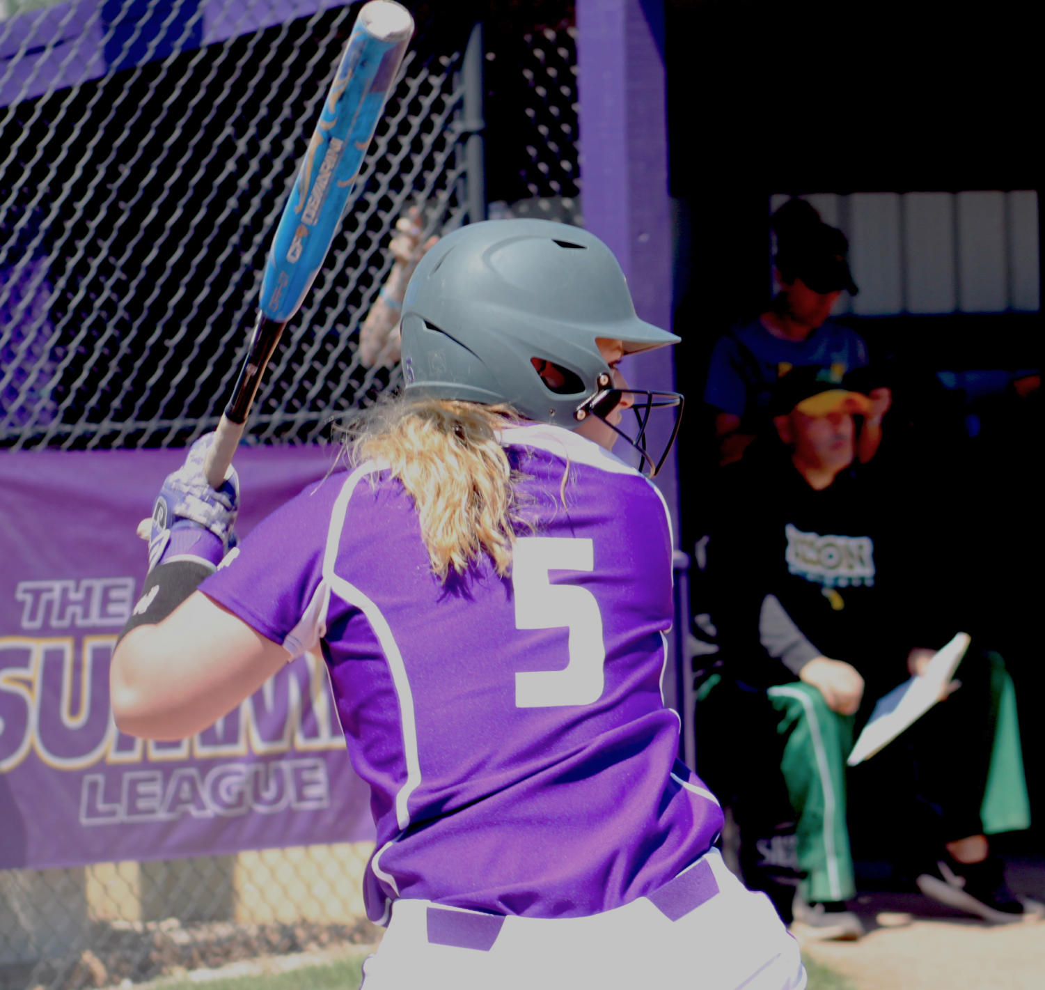 Hailey Duwa at bat for the Purple and Gold.