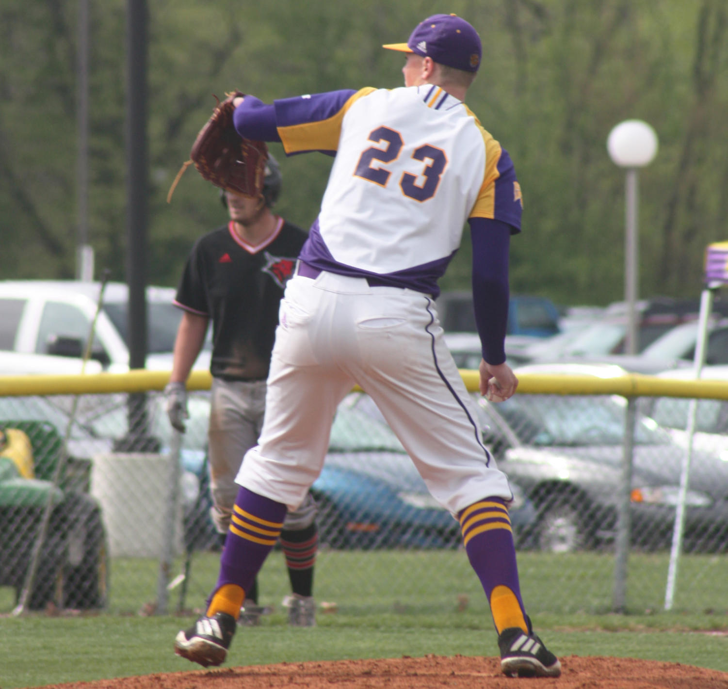 Ian Koch on the mound for the Purple and Gold.