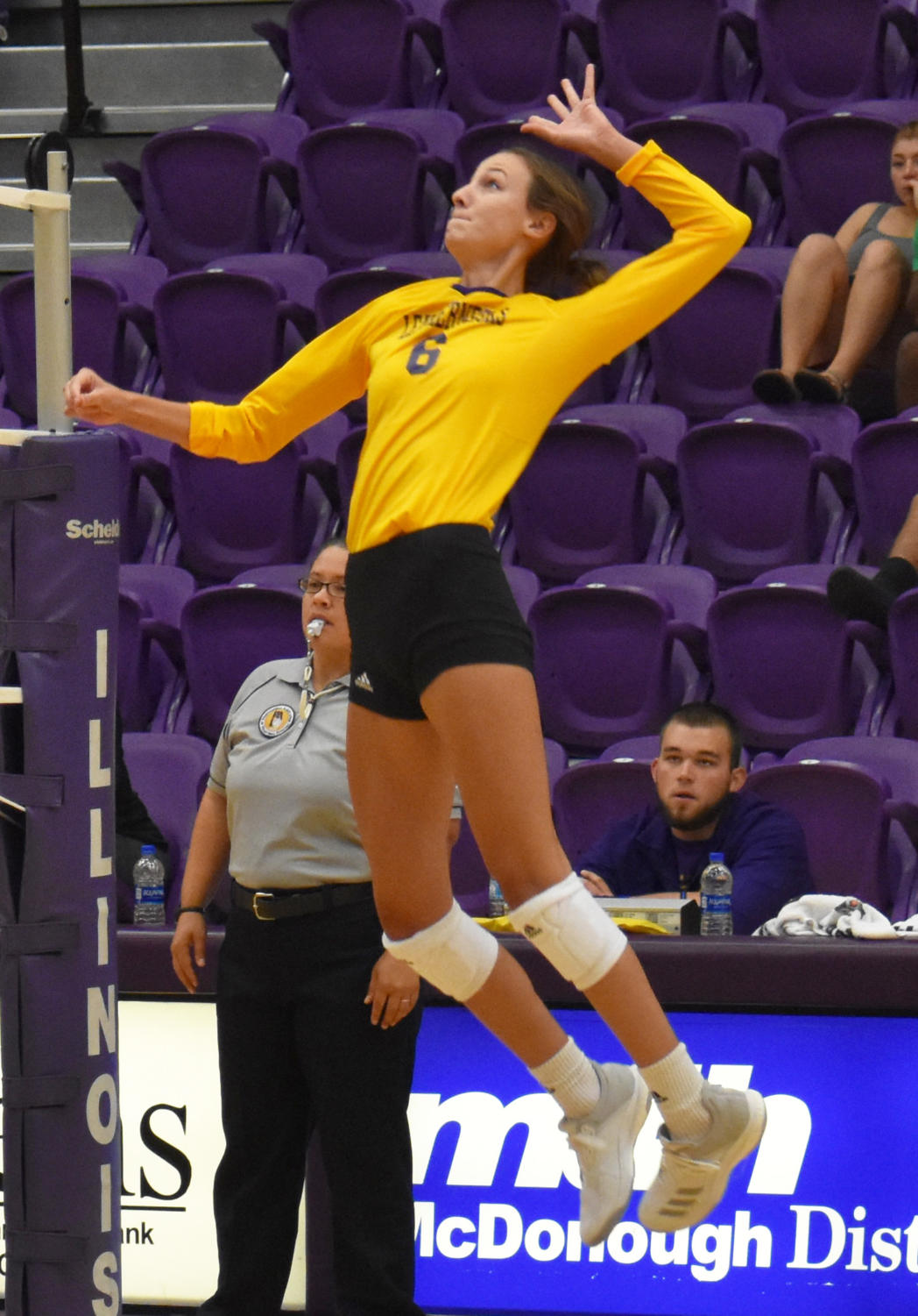 Mariah Mitcell goes up for the kill at Western Hall.