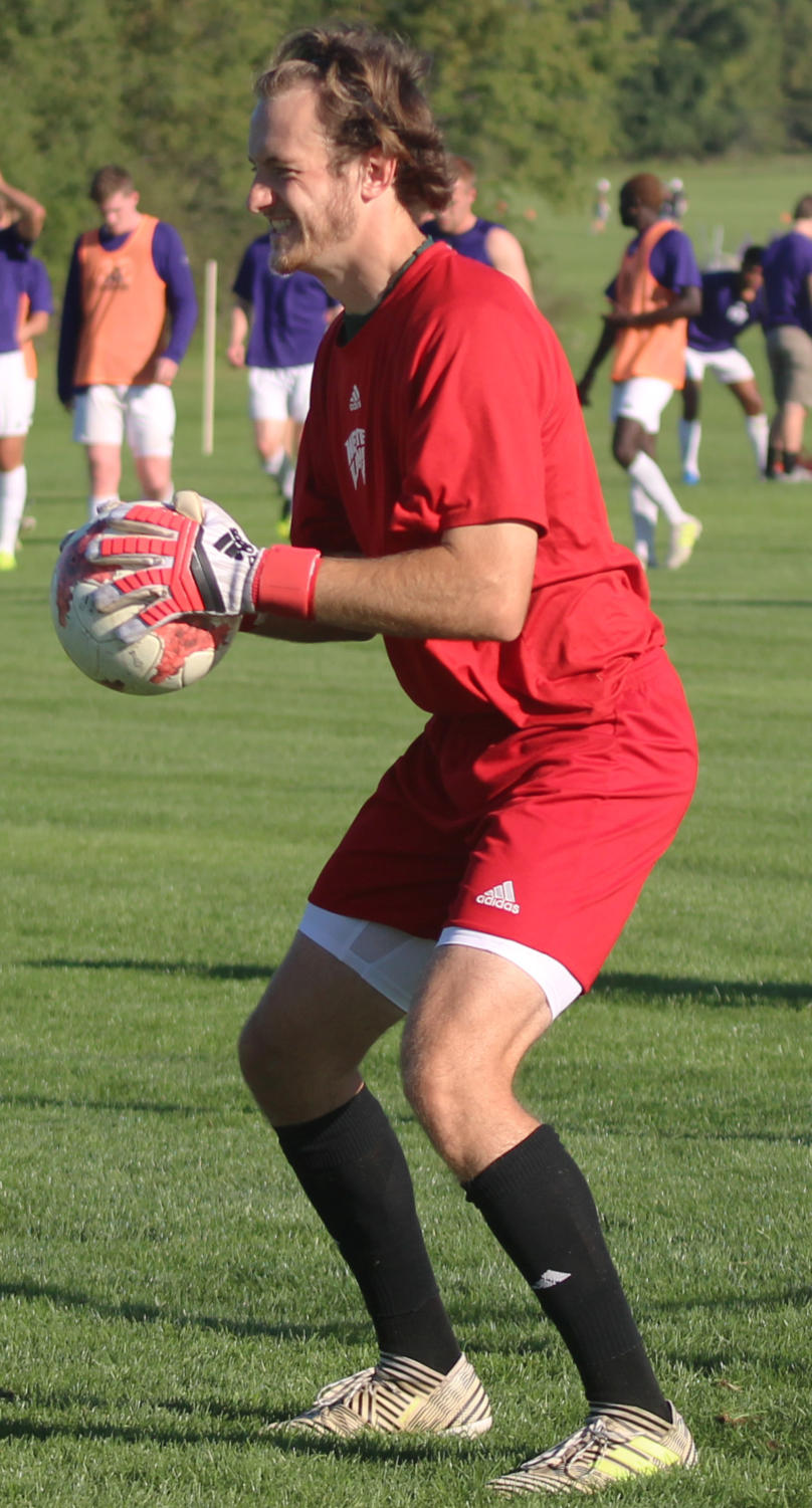 Tim Trilk catches the ball in practice.