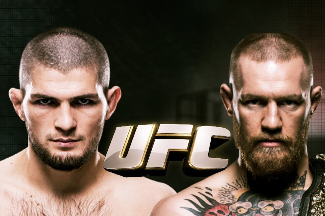 The UFC 229 poster featuring Khabib Nurmagomedov and Conor McGregor.