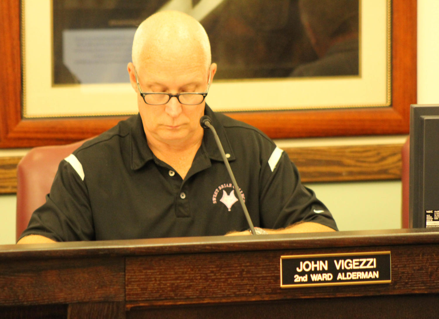 Alderman+John+Vigezzi+and+Fire+Chief+J.R.+Hyde+speak+at+Monday%27s+city+council+meeting.