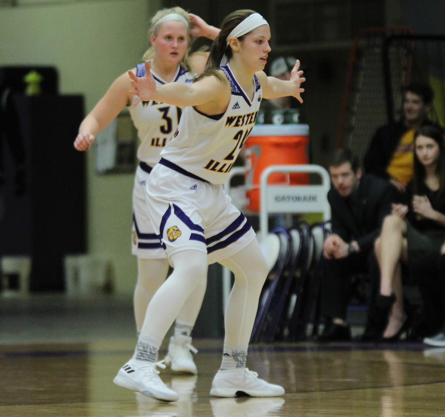 Taylor Higginbotham in her defensive stance at a home game inside Western Hall last season.