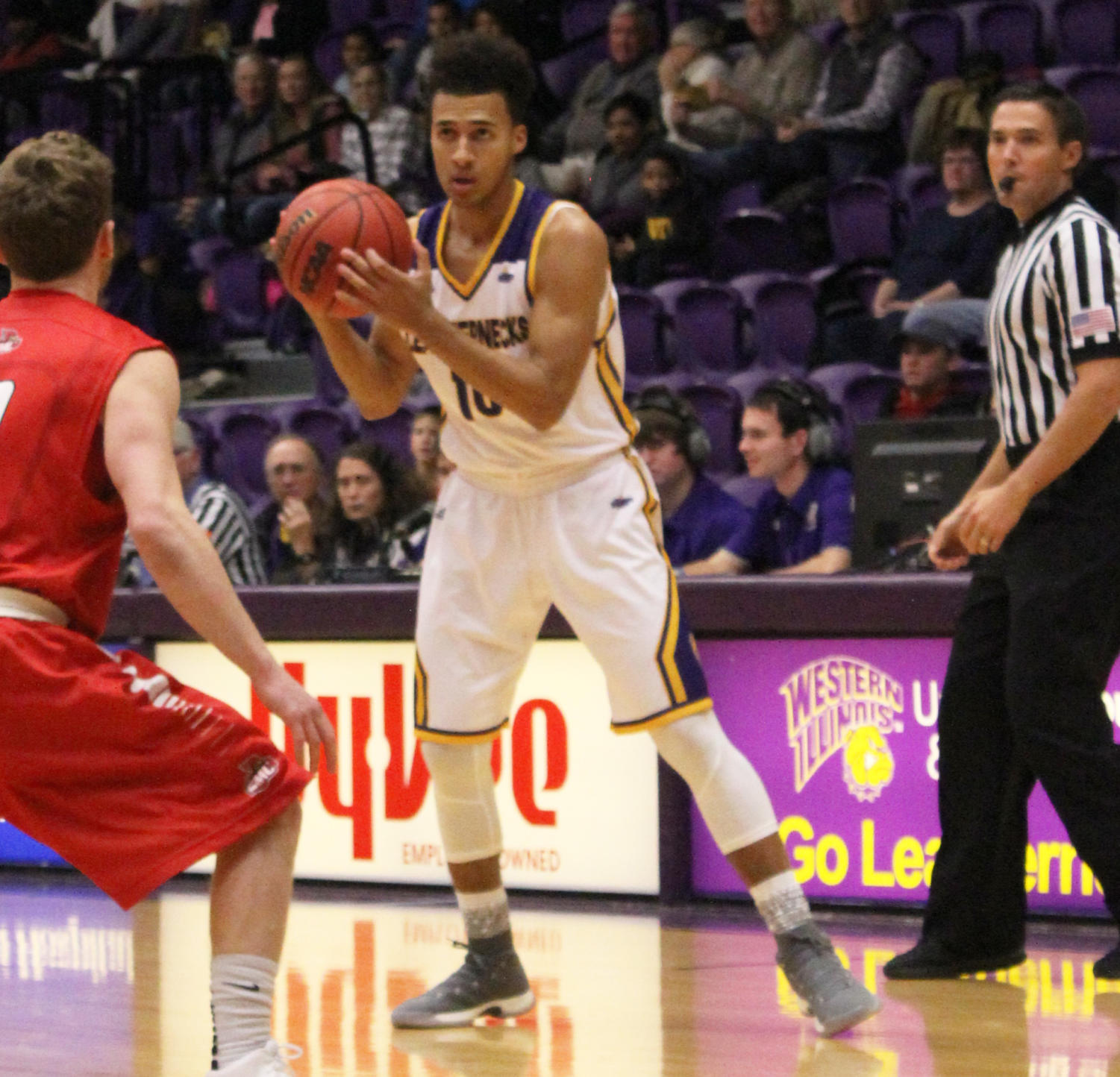 Kobe Webster looks to find a shot at a home game last year in Western Hall.