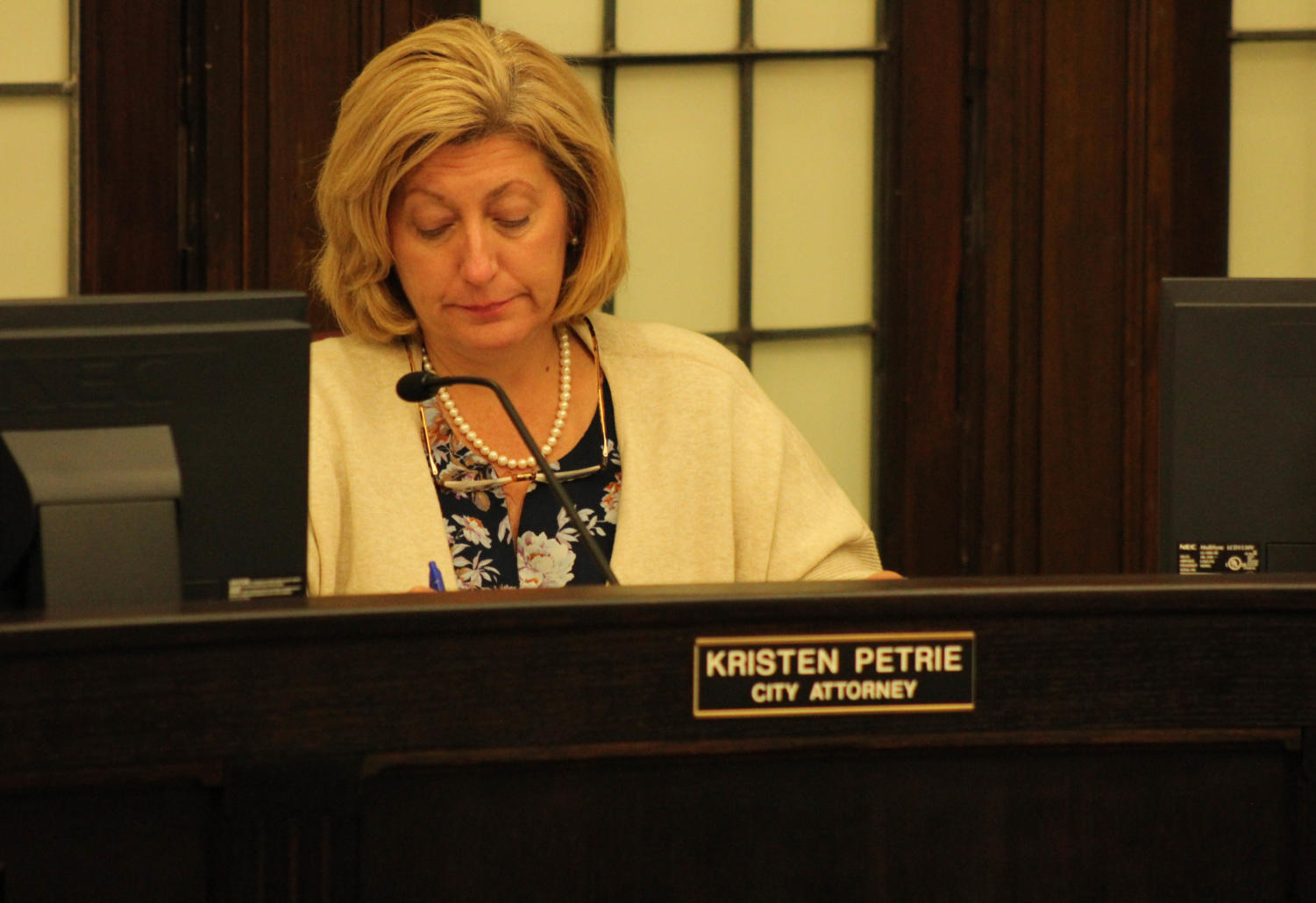 City Attorney Kirsten Petrie discusses conditions of potential liquor license for the Crafty Coop.
