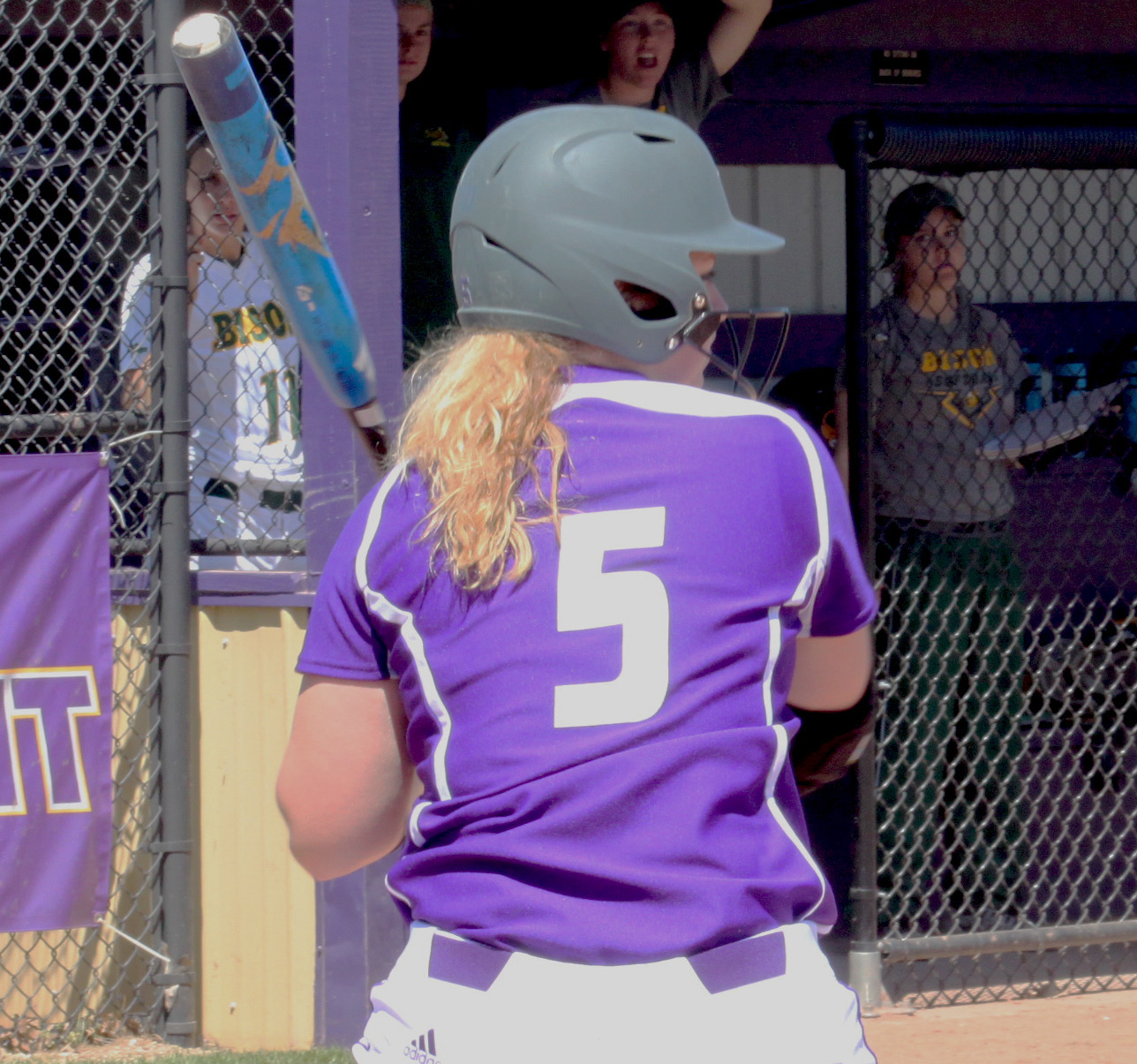 Haley Dewa awaits a pitch at Mary Ellen McKee Stadium.