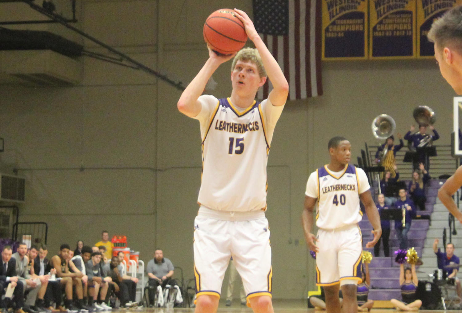 Ben Pyle lines up his shot at the free throw line in Western Hall.