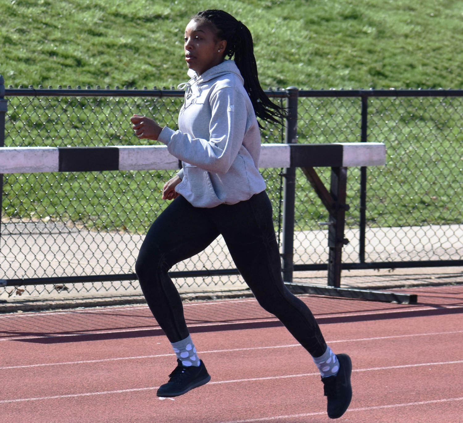 Khaliya Lawson jogs out during practice.